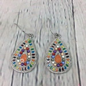 Festival boho bead drop oval dangle earrings